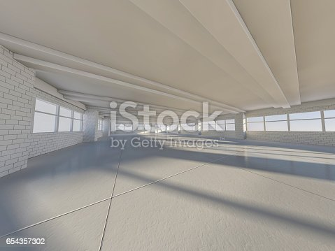 istock Sunny big open area with windows. 3D rendering. 654357302