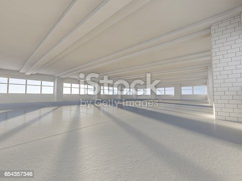 istock Sunny big open area with windows. 3D rendering. 654357346