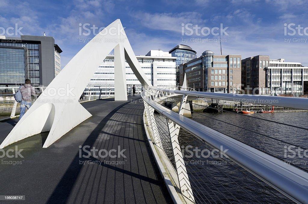 Sunny bridge in Glasgow, United Kingdom royalty-free stock photo