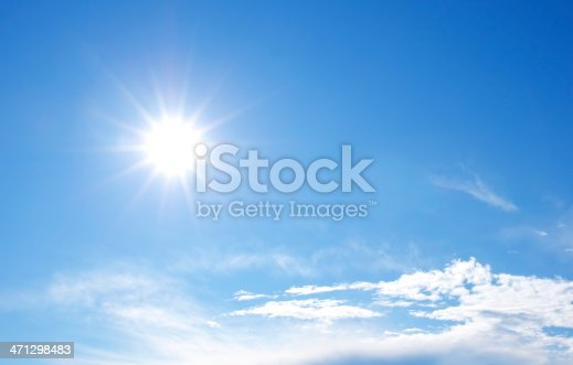 istock Sunny bright blue sky with clouds 471298483
