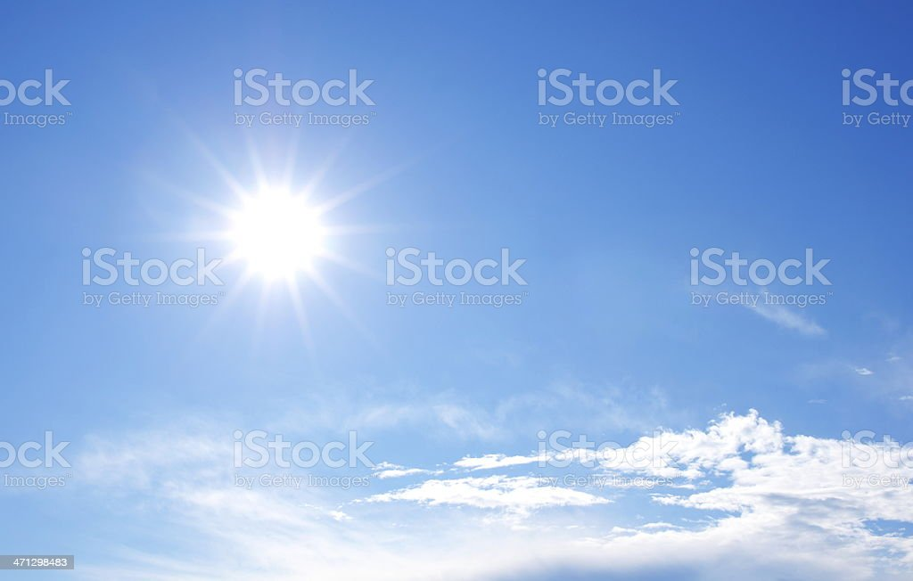 Sunny bright blue sky with clouds stock photo