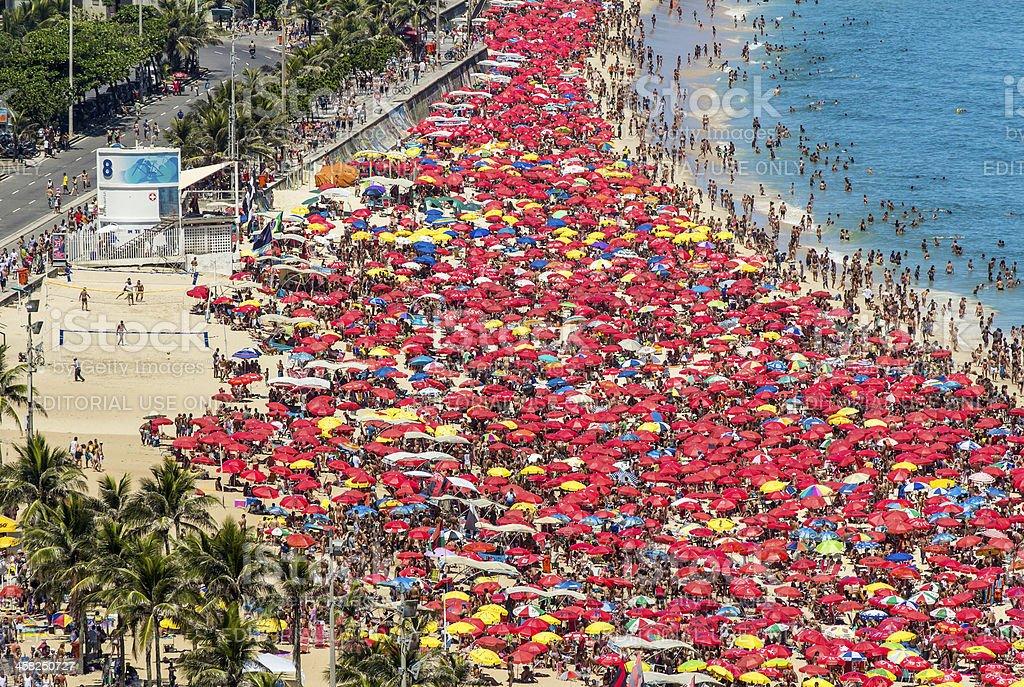 Sunny carnaval day on Ipanema Beach stock photo