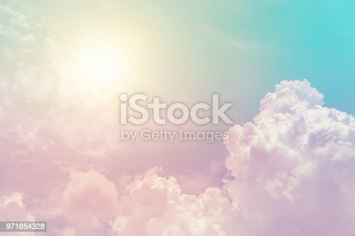 istock sunny cloud sky fantasy colorful pastel color for background 971654328