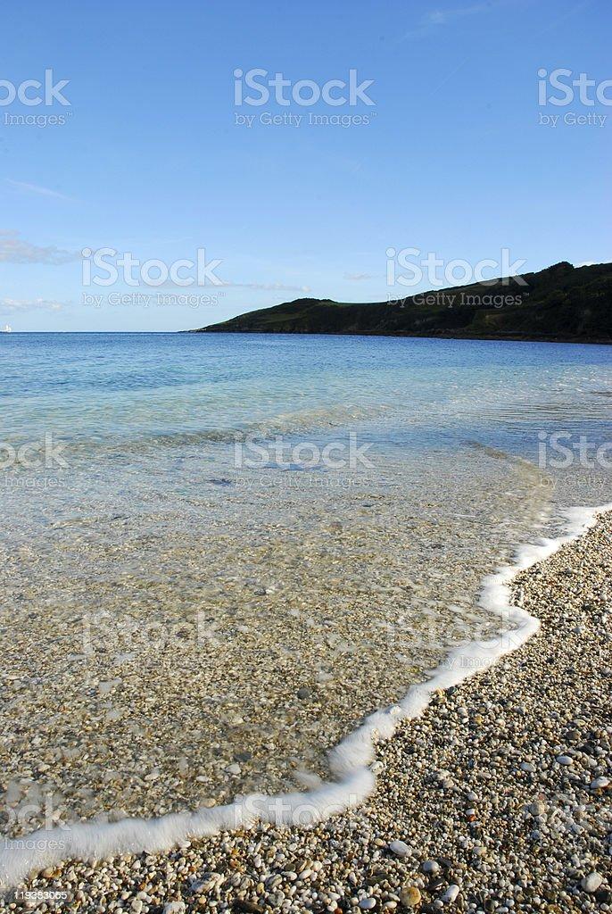 Sunny coastal scene in Maenporth, Falmouth, Cornwall stock photo