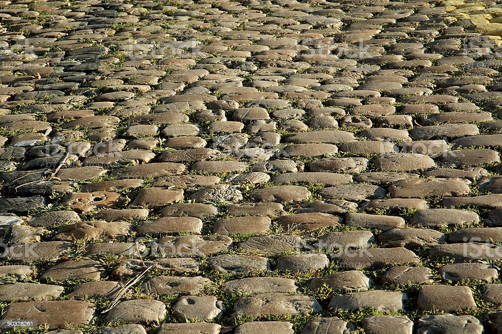 Sunny Cobbled Road Close Up royalty-free stock photo
