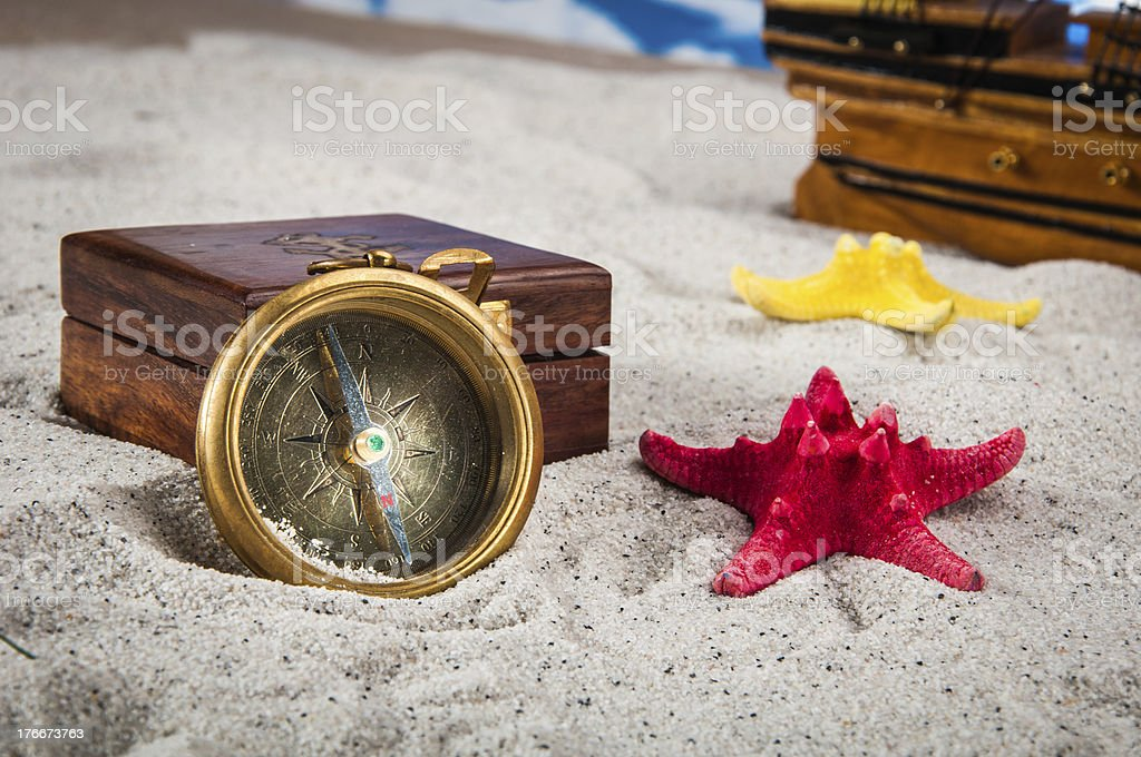Sunny composition of beach stuff royalty-free stock photo