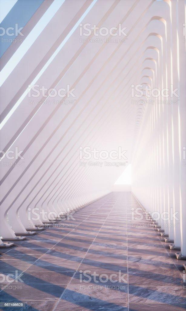sunny concrete hallway foto stock royalty-free