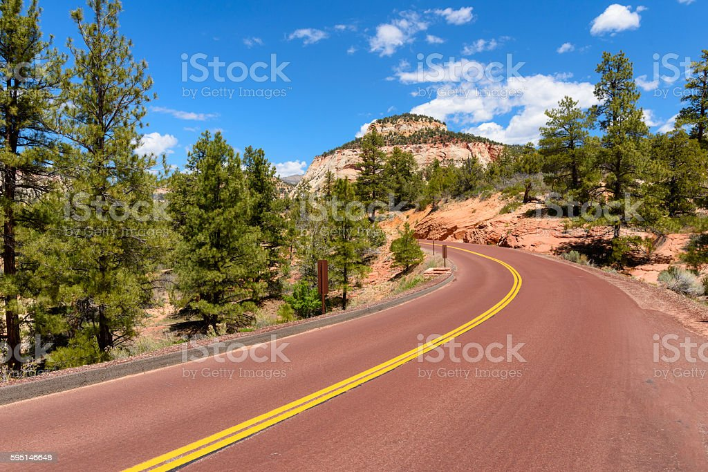 Sunny Day Along Highway in the Southwest USA stock photo