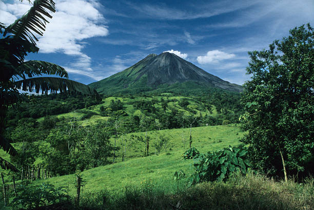 Sunny Day and Arenal Volcano, Costa Rica stock photo