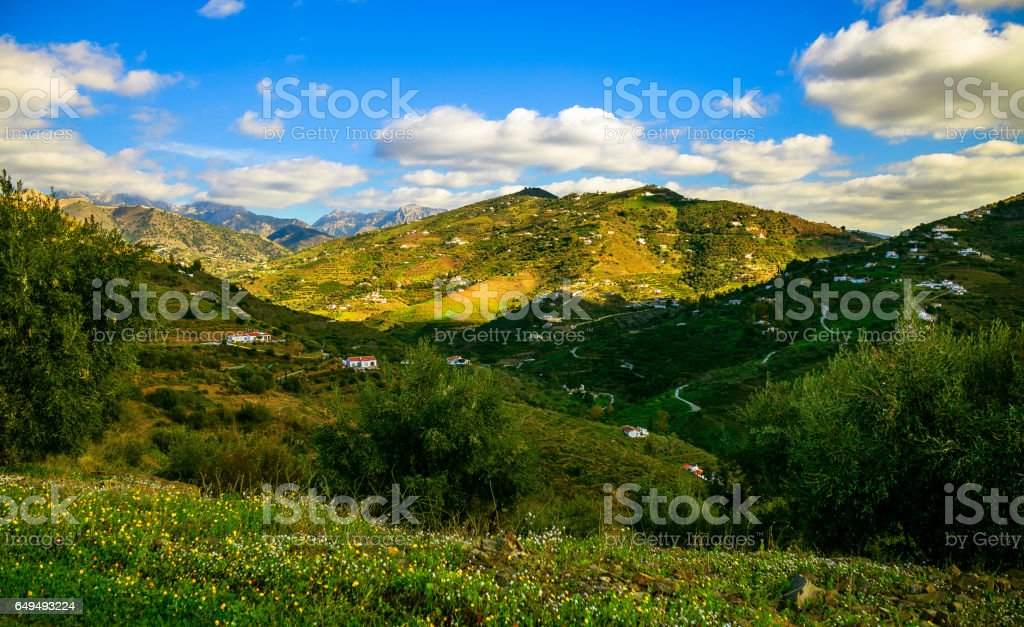 Sunny Day and Mountains in Malaga, Spain stock photo