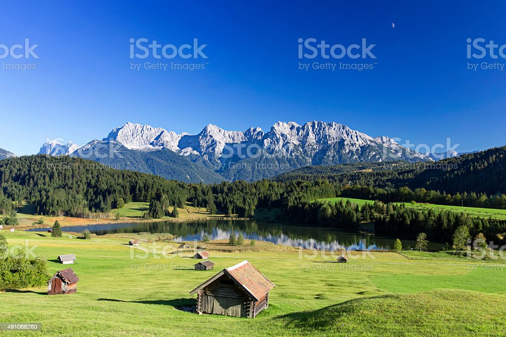 Sunny day at Geroldssee in bavarian mountains stock photo