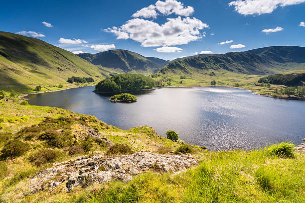 Sunny day at Haweswater reservoir in England Haweswater Reservoir in Mardale Valley taken from Whiteacre Crag.   A green hill that leads down to the water is in the foreground.  The water is deep blue and reflects the sunlight.  The reservoir is surrounded by rolling green hills, and a deep blue sky filled with fluffy white clouds is overhead. english lake district stock pictures, royalty-free photos & images