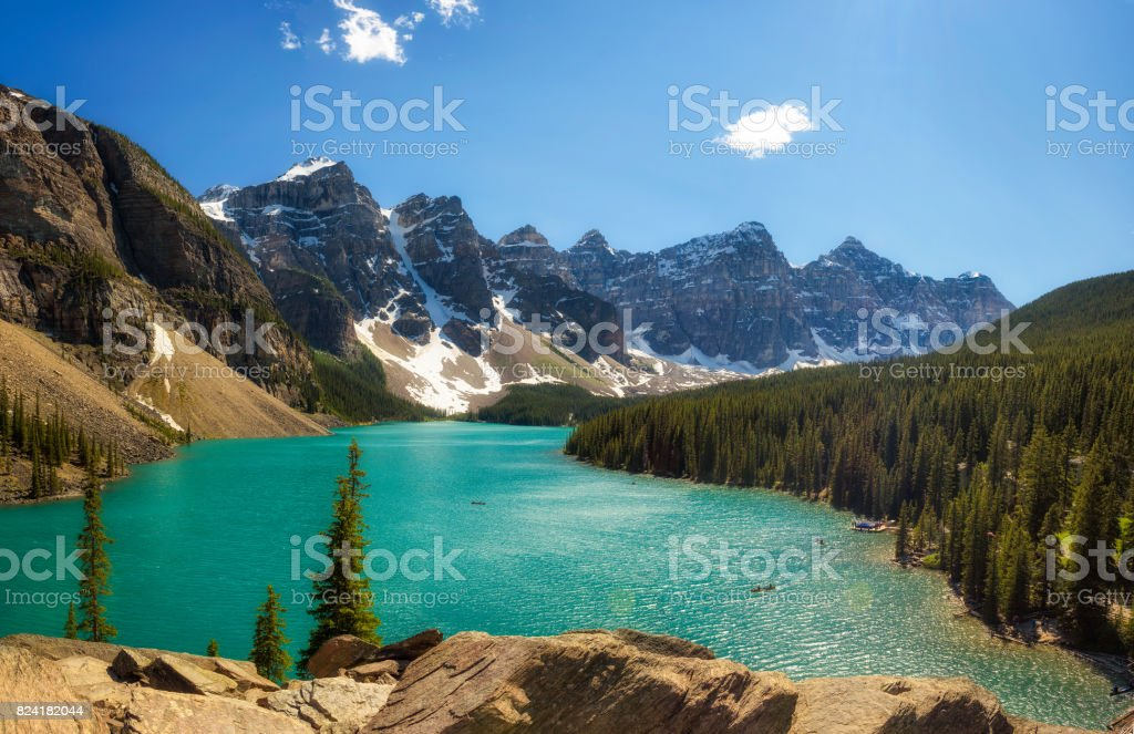 Sunny Day At Moraine Lake In Banff National Park Alberta Canada Stock Photo Download Image Now