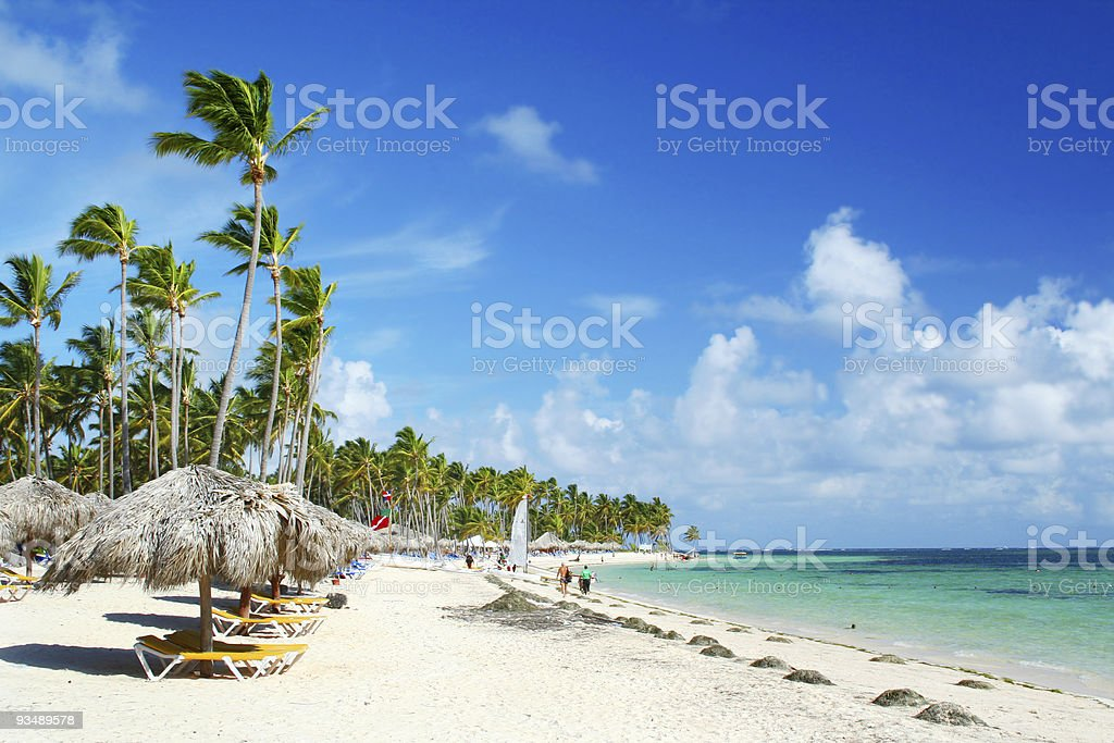 A sunny day at the Caribbean Resort Beach stock photo
