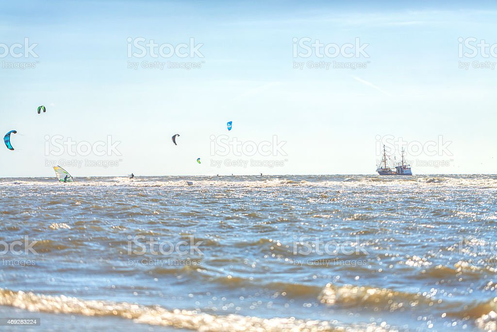 Sunny day at the North Sea / Sankt Peter Ording stock photo