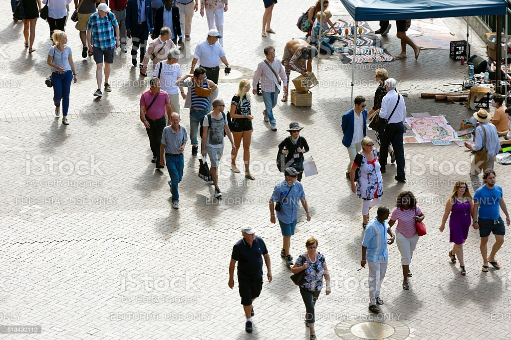 Sunny day in Circular Quay, Australia with tourist and sightseers stock photo