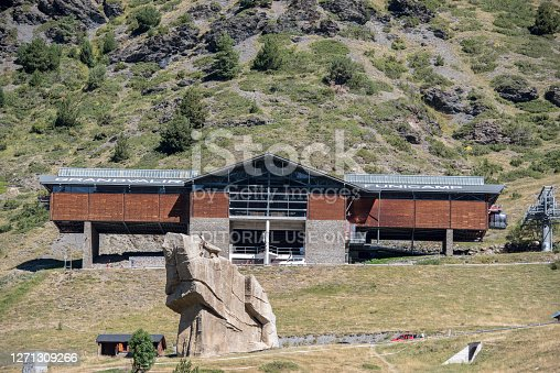Encamp, Andorra : 2020 Sept 06 : Grandvalira Funicamp Lift in Els Cortals de Encamp on Andorra, Pyrennes Mountians on summer 2020.