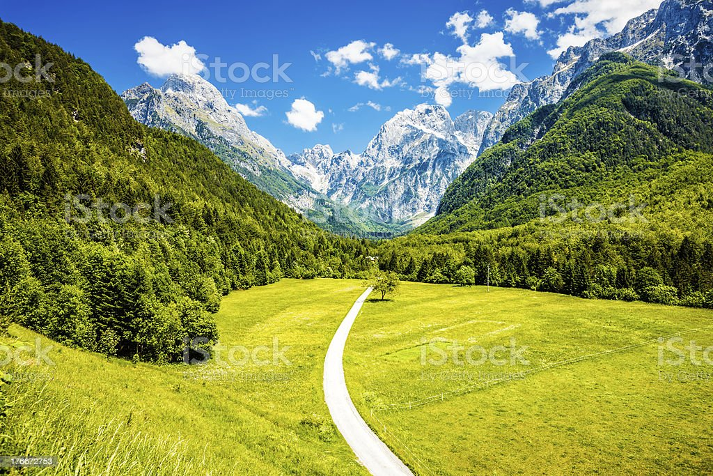 Sunny day in Log under Mangart, Slovenia royalty-free stock photo