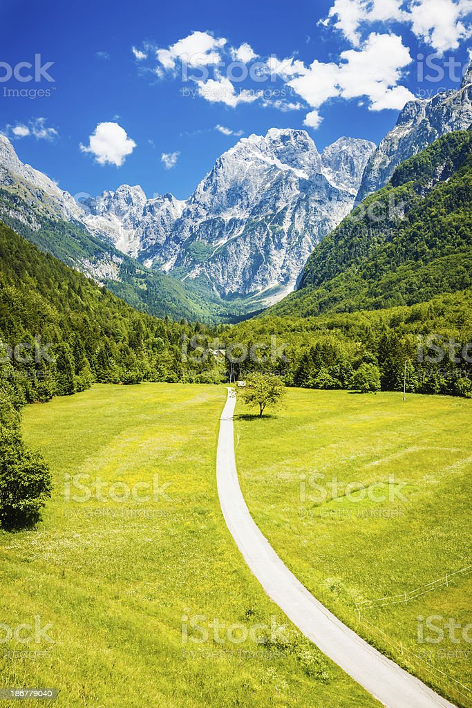Sunny day in Log under Mangart, Slovenia royalty-free stock photo
