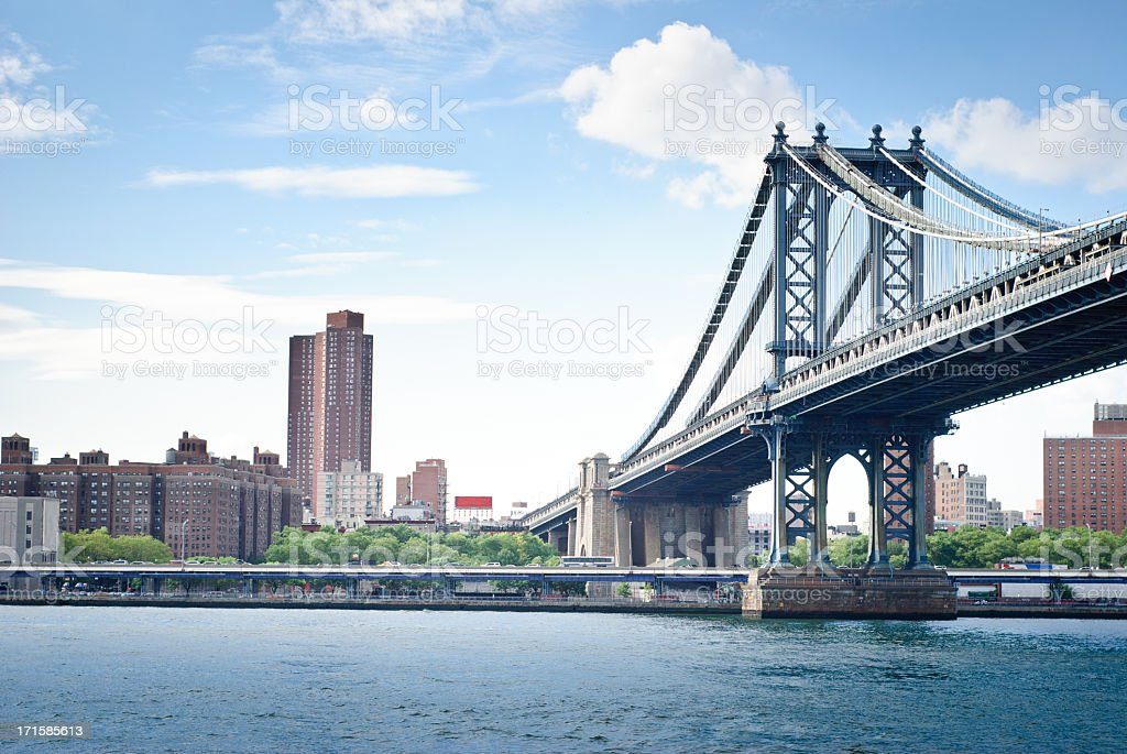 Sunny Day in New York with the Manhattan Bridge royalty-free stock photo