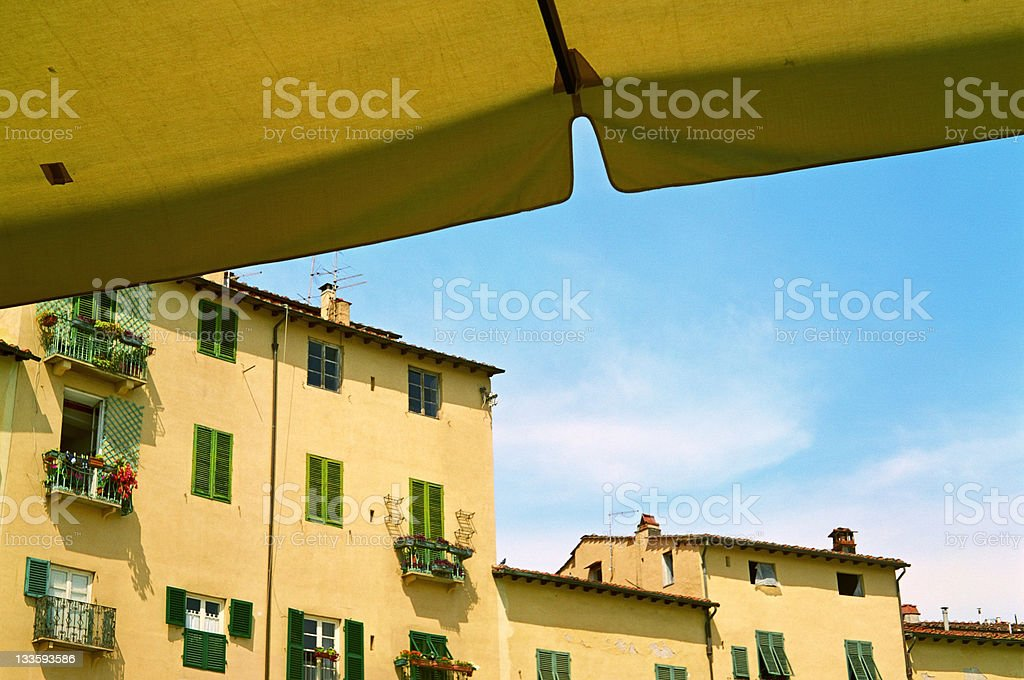 Sunny day in Piazza dell'Anfiteatro, Lucca, Tuscany, Italy stock photo