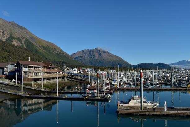 Sunny day in Seward, Alaska stock photo