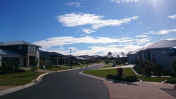 Sunny day in suburbs. stock photo
