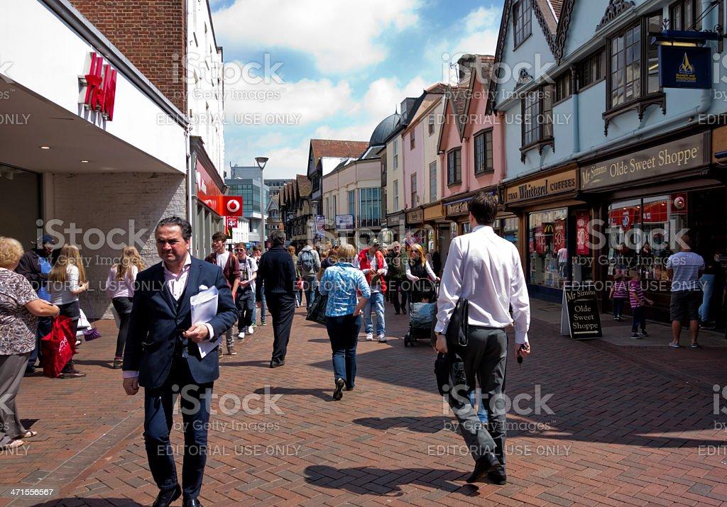 Sunny day in Tavern Street, Ipswich royalty-free stock photo