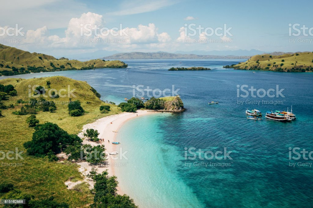 Sunny day of Pink beach. stock photo