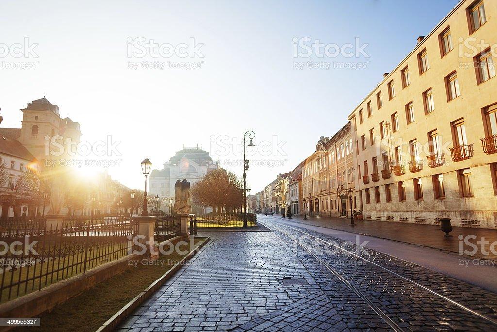 Sunny day on Hlavna street in Kosice, Slovakia stock photo