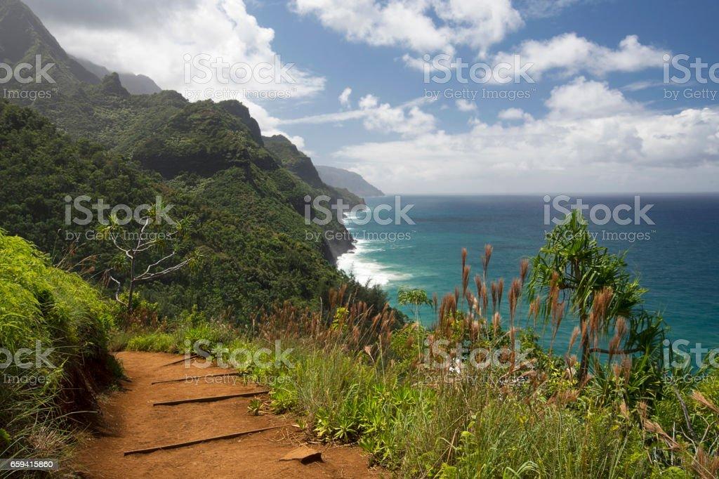 Sunny day on Na Pali Coast from from Kalalau Trail, Kauai, Hawaii stock photo