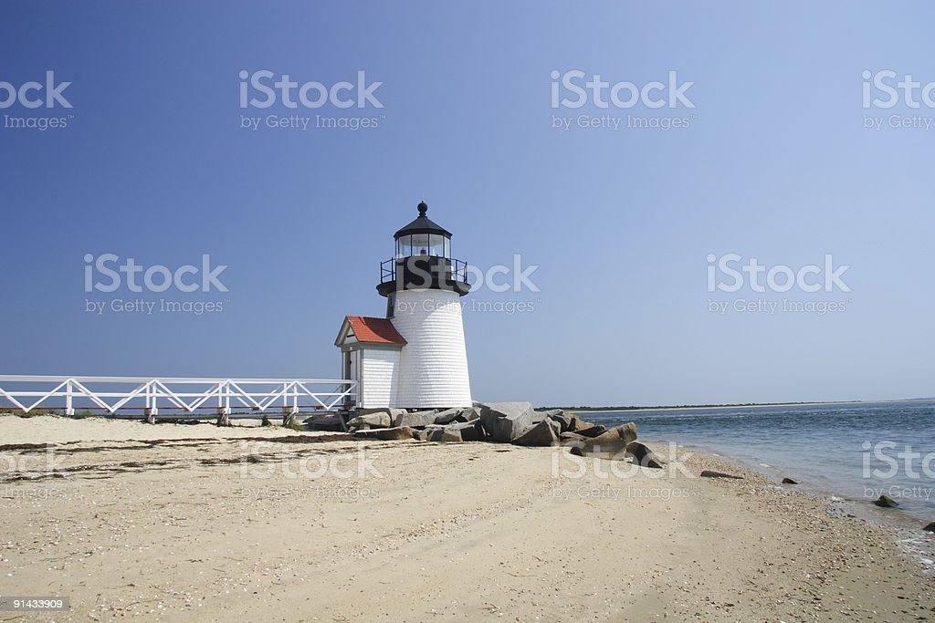 Sunny Day on Nantucket Island at Brant Point lighthouse royalty-free stock photo