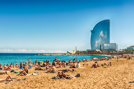 A Sunny Day On The Barceloneta Beach Barcelona Catalonia Spain Stock Photo - Download Image Now