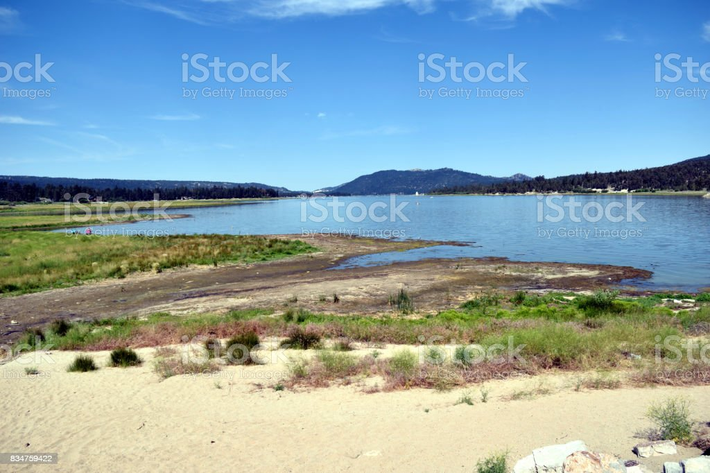 A Sunny Day on the Shore of Big Bear Lake stock photo