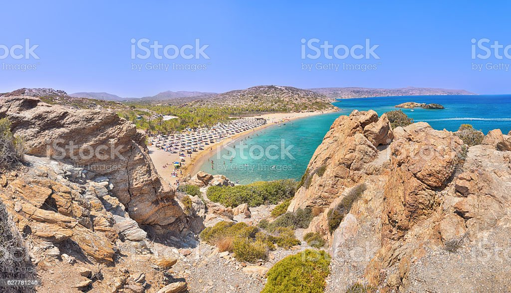 Sunny day on the Vai beach on Crete in Greece stock photo