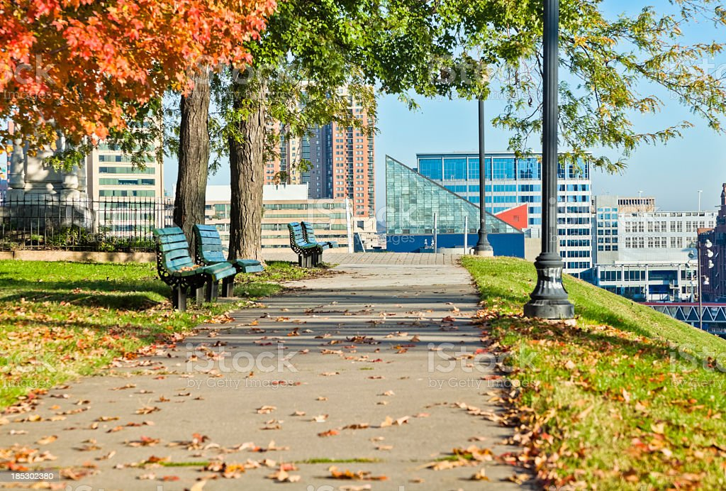 Sunny day view of Federal Hill Inner Harbor, Baltimore stock photo