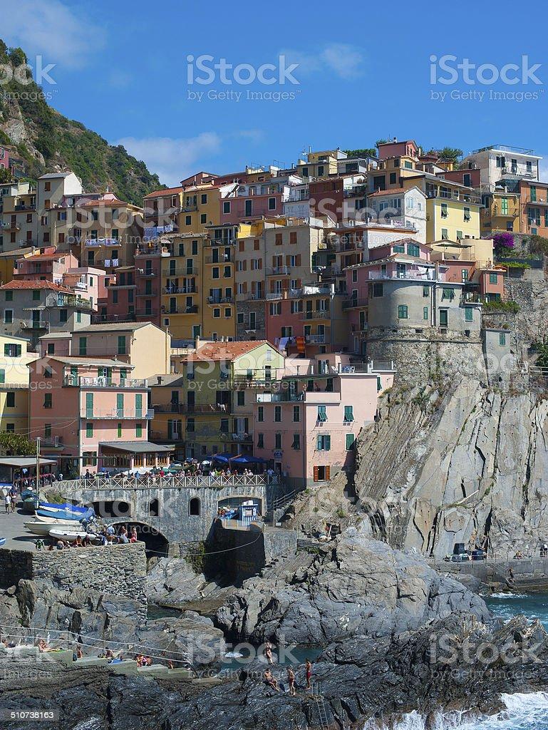 Sunny Day Village, Riomaggiore, Cinque Terre stock photo