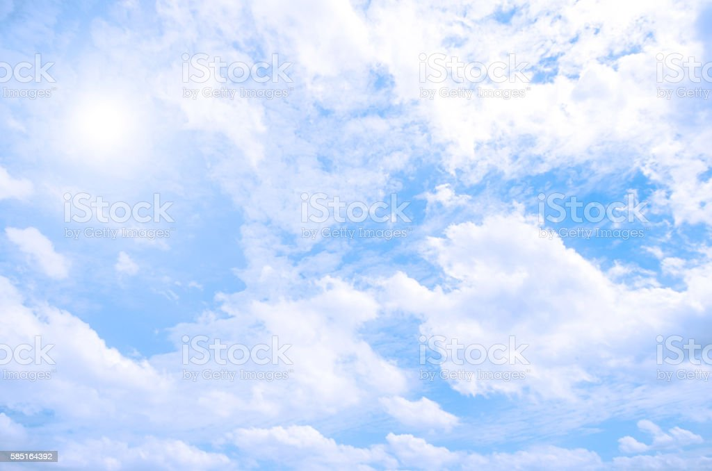 Sunny day with blue sky background. Summer sky with clouds. stock photo