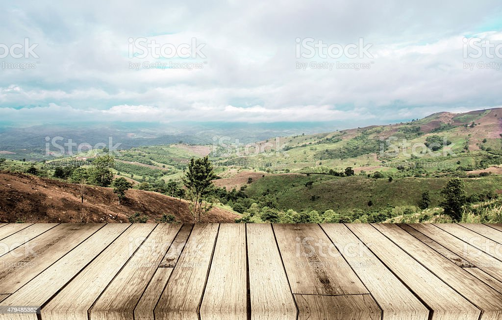 sunny day with landscape and terrace stock photo