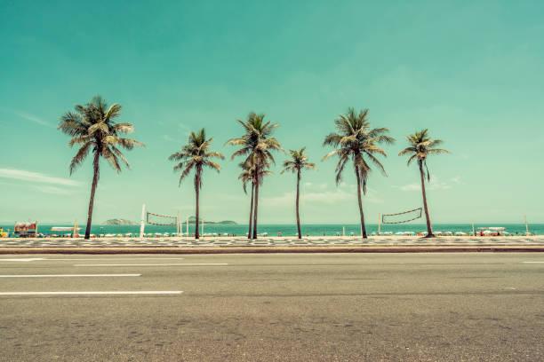 Sunny day with Palms on Ipanema Beach in Rio De Janeiro, Brazil stock photo