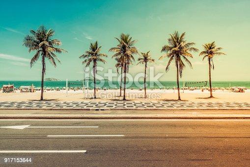 Sunny day with Palms on Ipanema Beach in Rio de Janeiro, Brazil. Light leak applied