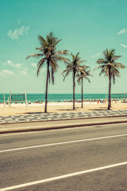 Sunny day with Palms on Ipanema Beach in Rio De Janeiro Sunny day with Palms on Ipanema Beach in Rio De Janeiro, Brazil lagoa rio de janeiro stock pictures, royalty-free photos & images