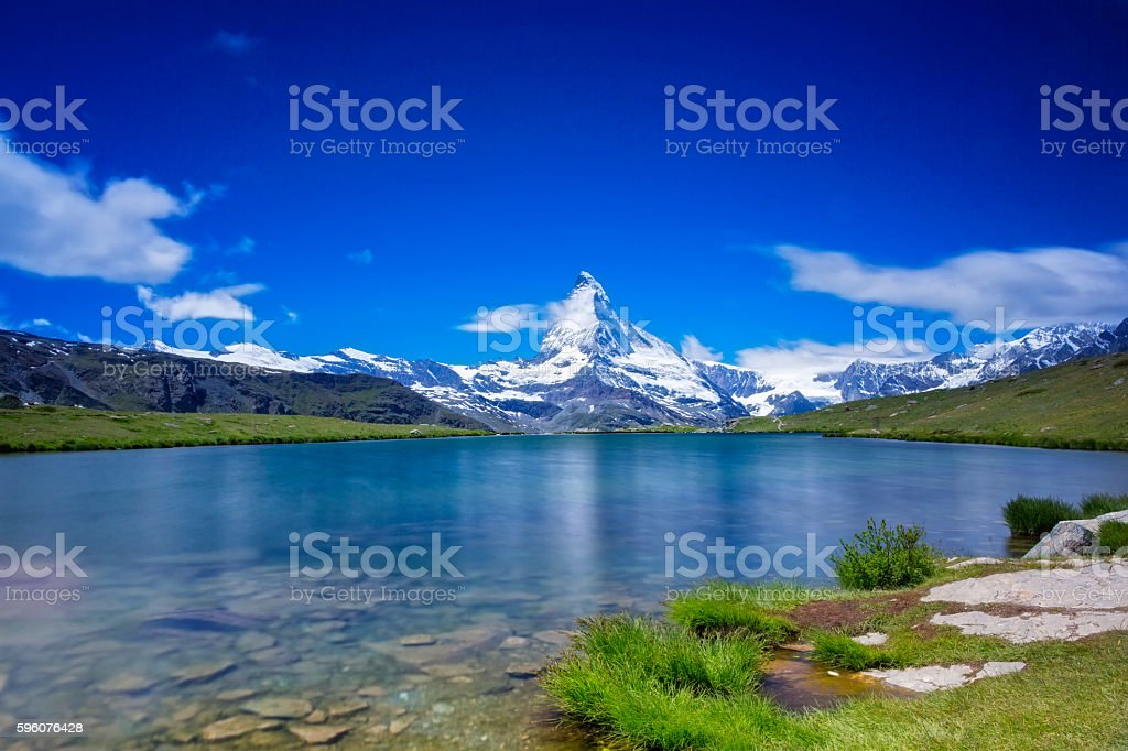 Sunny day with view to Matterhorn  - long time exporsure stock photo