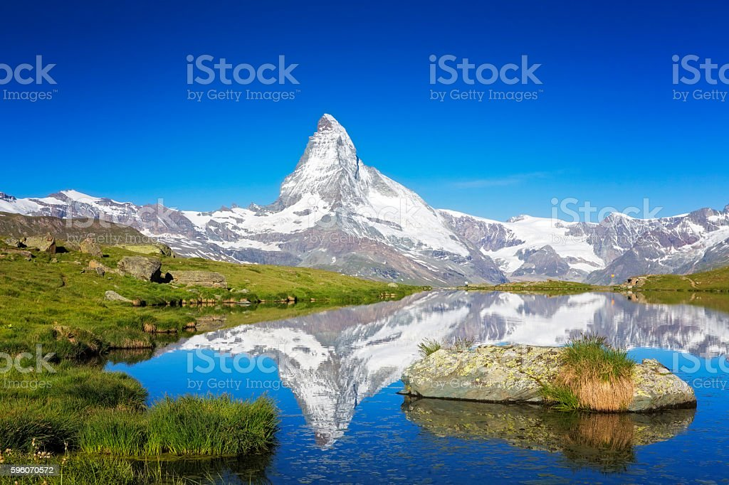 Sunny day with view to Matterhorn stock photo