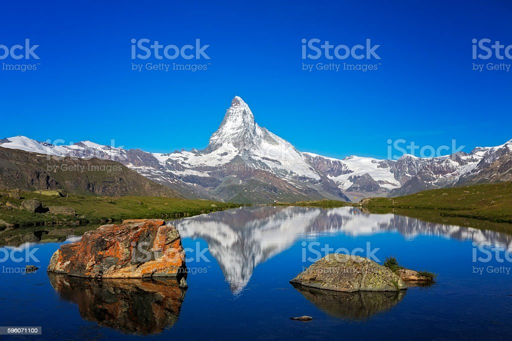 Sunny day with view to Matterhorn royalty-free stock photo