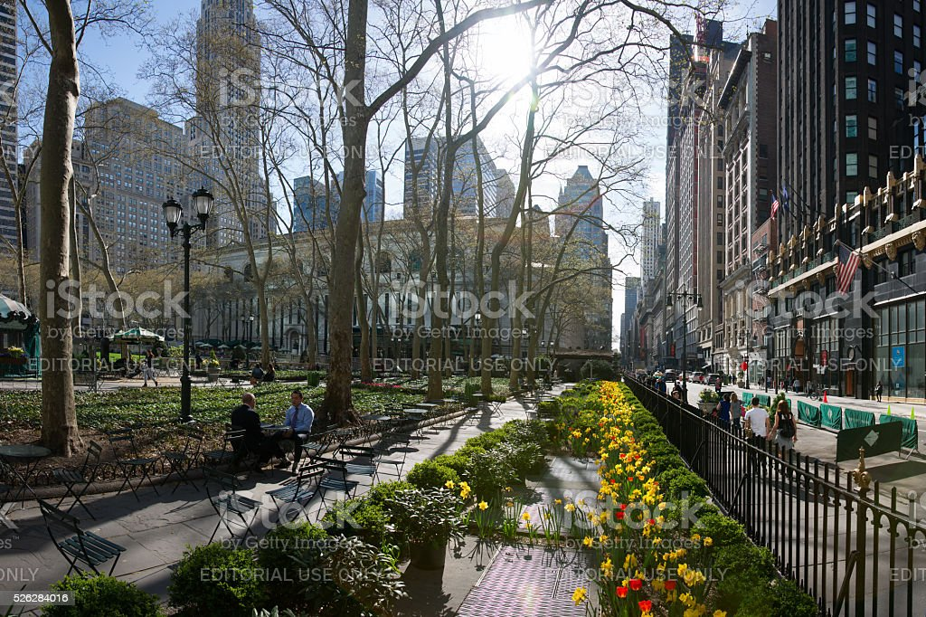 Sunny Early Spring Morning at Bryant Park stock photo
