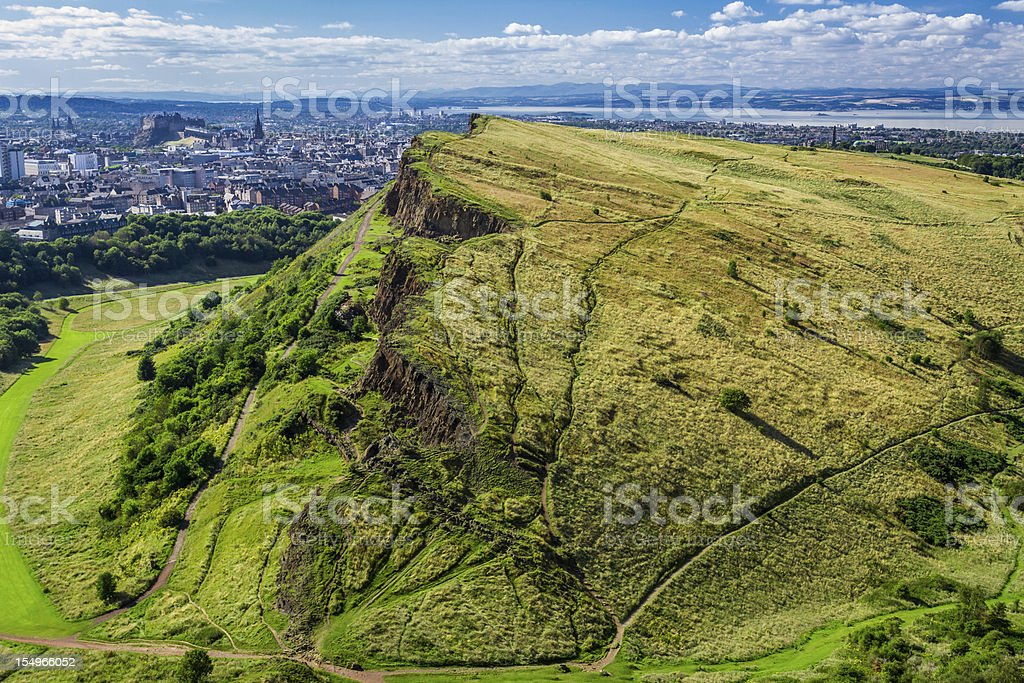 Sunny Edinburgh and green hills in summer stock photo