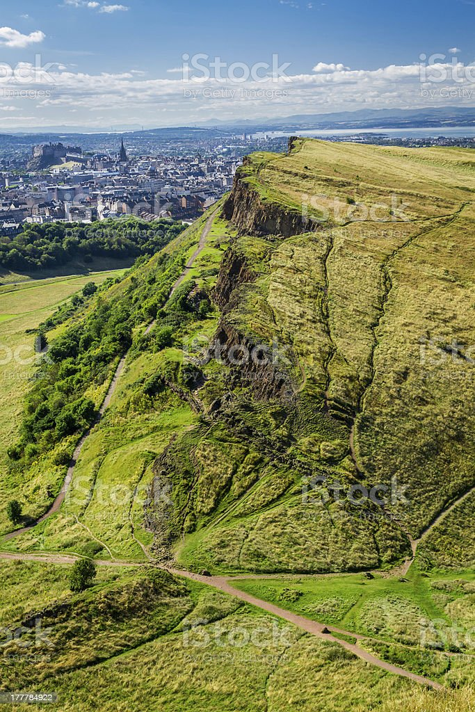Sunny Edinburgh from the top of Arthur Seats stock photo