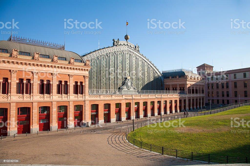sunny facade of Madrid Atocha train station - foto de stock