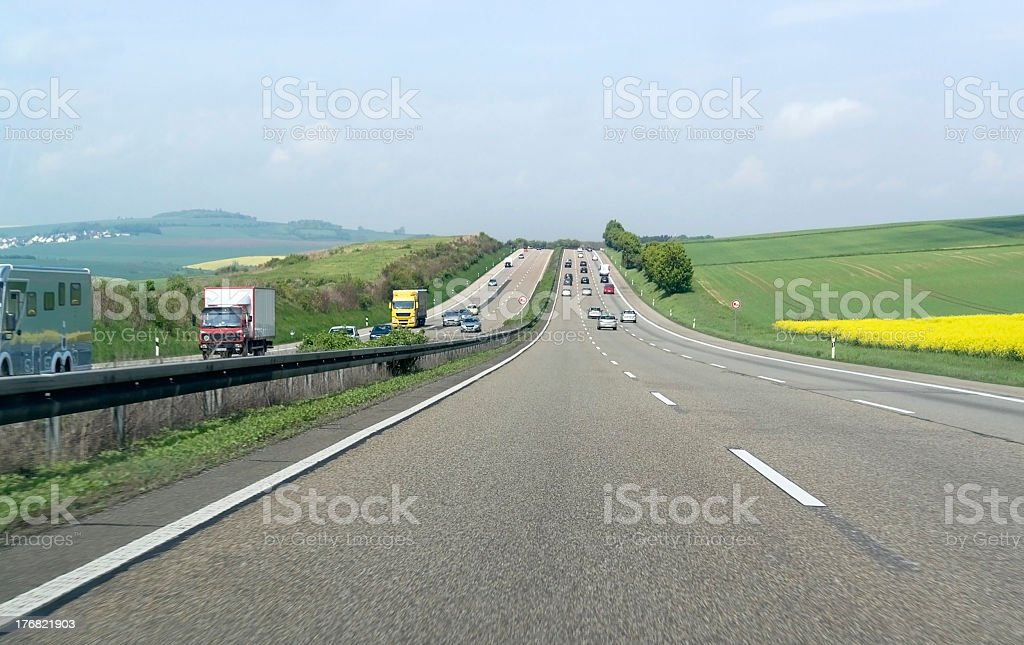 sunny freeway scenery in germany stock photo